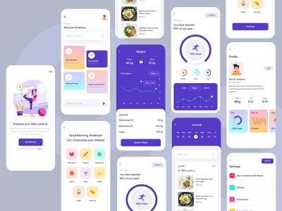 Fitness Mobile Application Design (Light Version) fitness club reward light version pureweb ratings mvp creative mobile application design app challenge exercise play sports design ui uiux dotpixel-agency application illustration fitness app fitness