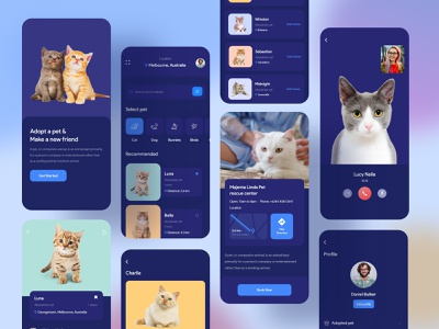 Pet Adoption Mobile Application Design (Dark Version) calling family domestic cute cat pet animal color white ios line icons minimal material adoption concept dearch side cats app cat