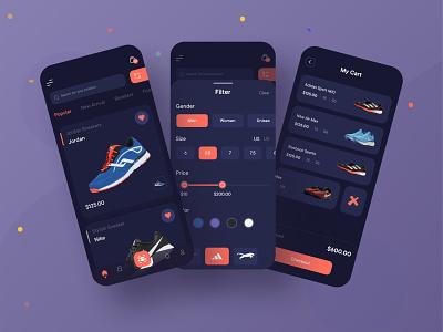 Sneakers Mobile Application Design (Dark Version)