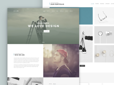 Coor PSD Landing Page Template minimal marketing grid freelancer creative businesses corporate commercial clean agencies interface website experience user software usability template home page landing psd