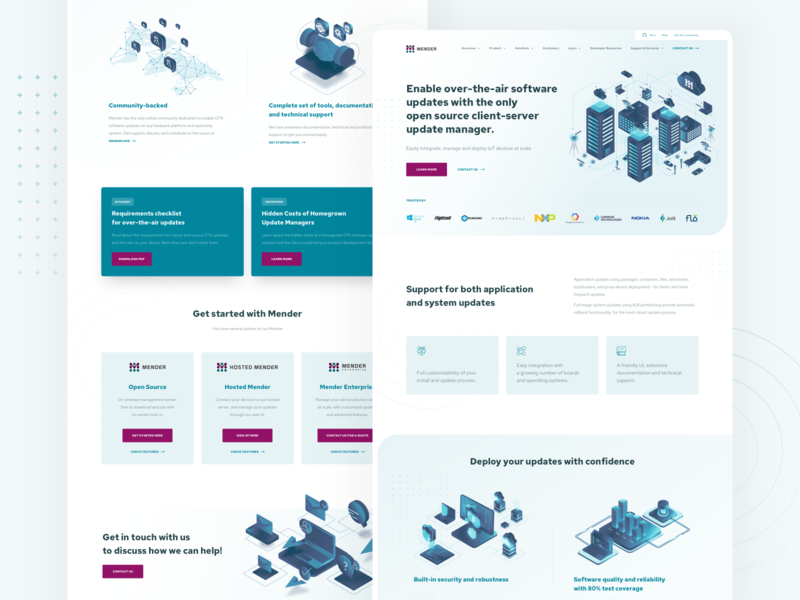 Mender - Landing Page devices vector open source cloud iot illustration isometric engineer software mender blue web lp landing page homepage design website ux ui clean