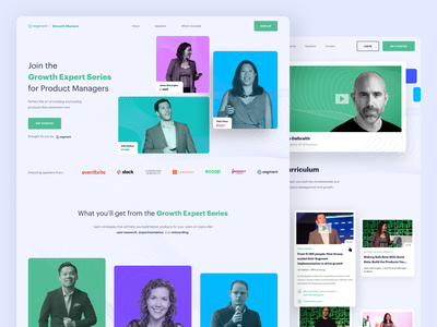🌱 Segment — Growth Masters platform event speakers experts green masters masterclass grow growth segment blue web landing page lp homepage website design ux ui clean