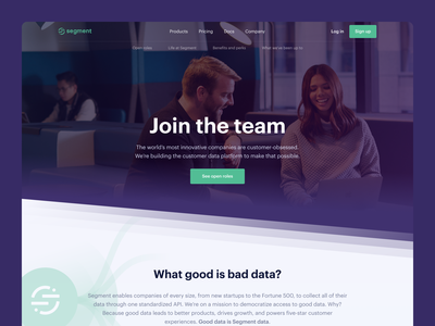 💼 Segment — Careers popup perks benefits purple green design jobsite lp landingpage webdesign website ux ui clean team work cards jobs careers segment