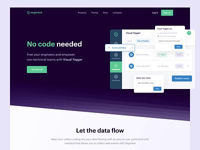 🏷 Segment — Visual Tagger product demo walkthrough data customer analytics tagger visual purple animation segment green web landing page lp website design ux ui clean