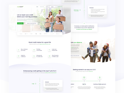 Creditglory 📑 glory about signup page lp light typography design interface simple layout credit website ux ui web landing page homepage clean