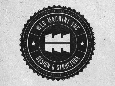 Web Machine Stamp 1 logo mark identity branding monogram stamp gear retro grunge