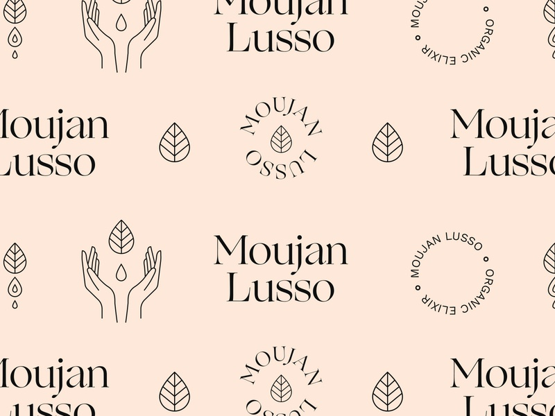 Moujan Lusso - Brand Pattern type wordmark logotype hands body oil beauty organic vegan holistic natural ogg typeface pastel pattern brand skincare badge logo