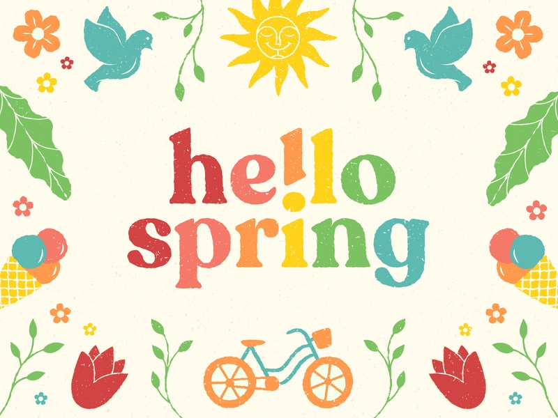 Hello Spring! nature typedesign branding packaging icecream tulips birds flowers fun summer spring pattern illustration