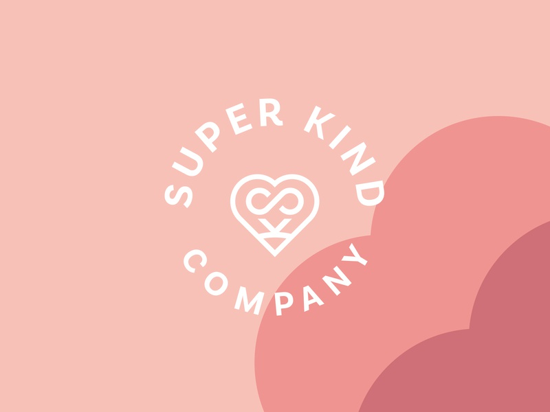 Super Kind Logo pastel colors branding and identity branding fun friendly heart monogram bedding and linen cotton textiles high-quality sheets bedding organic badge kind heart logo
