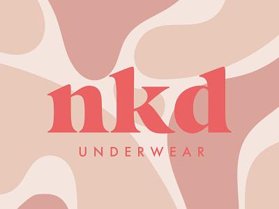 NKD Underwear Logo bold serif fun feminine fluid abstract sustainable pastels skin tones logotype fabric textiles pattern organic underwear fashion wordmark logo