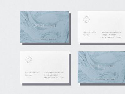 Art De Vivre Business Cards minimal cards debossing letterpress print design interior design av logo monogram ocean liquid water texture wave pattern silver foil luxury business cards