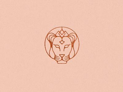 Lioness Logo spirituality sustainability yoga spa beauty line art jewelry wellness fashion skincare elegant animal letterpress copper foil luxury feminine lioness lion logo