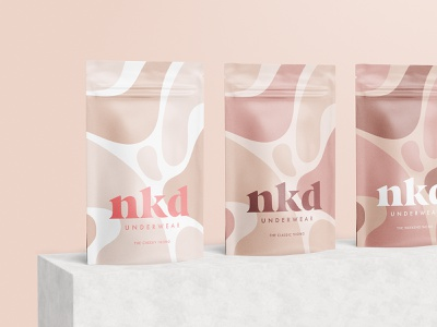 NKD Pouch Packaging neutral colors lifestyle fashion underwear fluid skincare logotype sustainable giving back branding ethical inclusive feminine pattern abstract packaging pouch