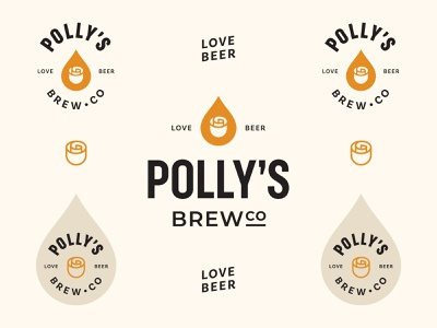 Polly's Brew Co - Logo System beer label minimalist logo geometric identity branding typographic mark rose natural craftbeer craft brewery brewing badges logo beer