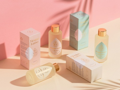 Moujan Lusso - Packaging Design cosmetics logo design identity branding holistic clean beauty body oil pastel colors box design sustainable natural luxury gold foil skincare packaging skincare