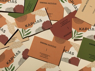 Kaplias Business Cards ethical sustainable recyclable earthy colors illustration interior design furniture home decor branding home accessories natural cotton paper design business cards