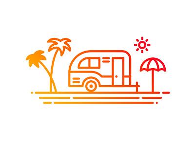 Minivan Illustration seaside summer outdoor travel mark logo icon vacation illustration outline minivan