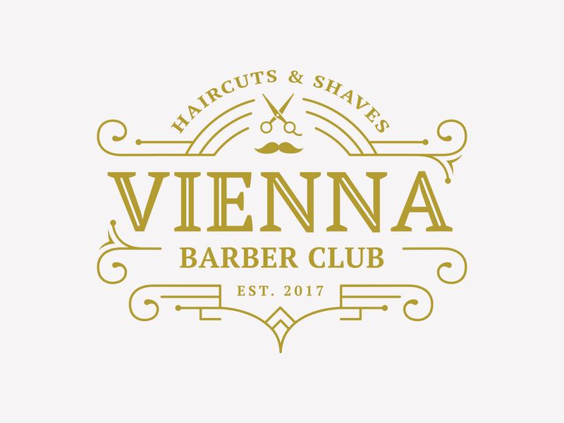 Vienna Barber club beard vintage logo brand identity gold premium branding vintage badge shaves haircuts scissors vienna barbershop barber logo