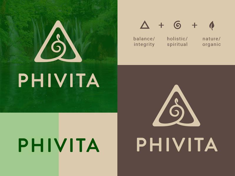 Phivita spiral logo natural products leaf triangle organic spirituality holistic logo icon symbol brand and identity