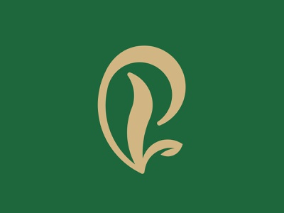 P + Leaves Logo food branding spirituality green lettering hand drawn natural organic leaves nature p letter p monogram