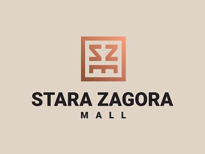 Stara Zagora Mall luxury branding high-end shopping gold gradient szm sz monogram grid design monogram logo brand identity mall branding