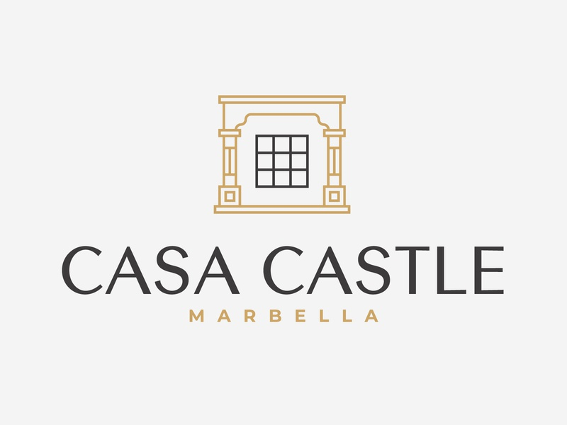 Casa Castle furniture apartments luxury suits logo h monogram interior design branding green and gold type minimalism modernism summer hotel brand identity luxury branding house logo exotic luxury castle villa branding