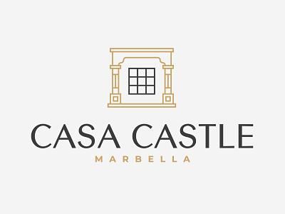 Casa Castle Logo furniture apartments luxury suits logo h monogram interior design branding green and gold type minimalism modernism summer hotel brand identity luxury branding house logo exotic luxury castle villa branding