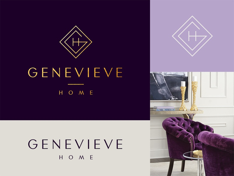 Genevieve Home gold and dark purple letter gh mark gh monogram brand identity luxury branding architecture logo luxury architecture interior design home decor