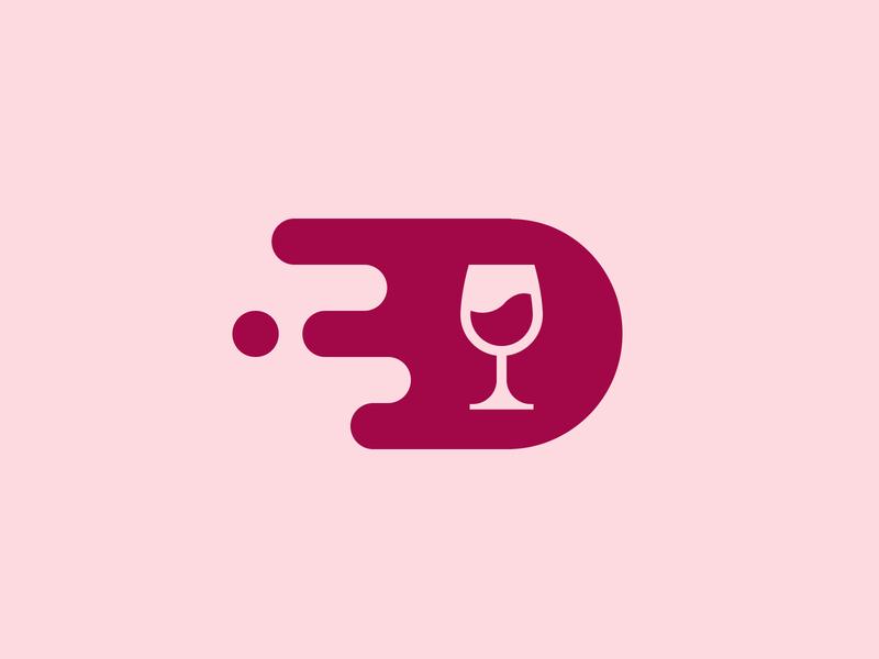 Wine Delivery - App Icon logo geometric wine glass liquid speed technology fast delivery liquor minimalism icon wine app