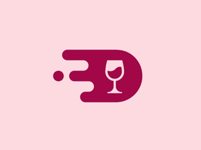 Wine Delivery - App Icon logo geometric wine glass liquid speed technology fast delivery liquor minimalism icon wine app