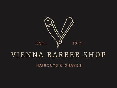 Vienna Barber Shop old school retro typography type v mark beard copper brand identity branding type lockup vintage badge shaves haircut scissors vienna logo barbershop barber