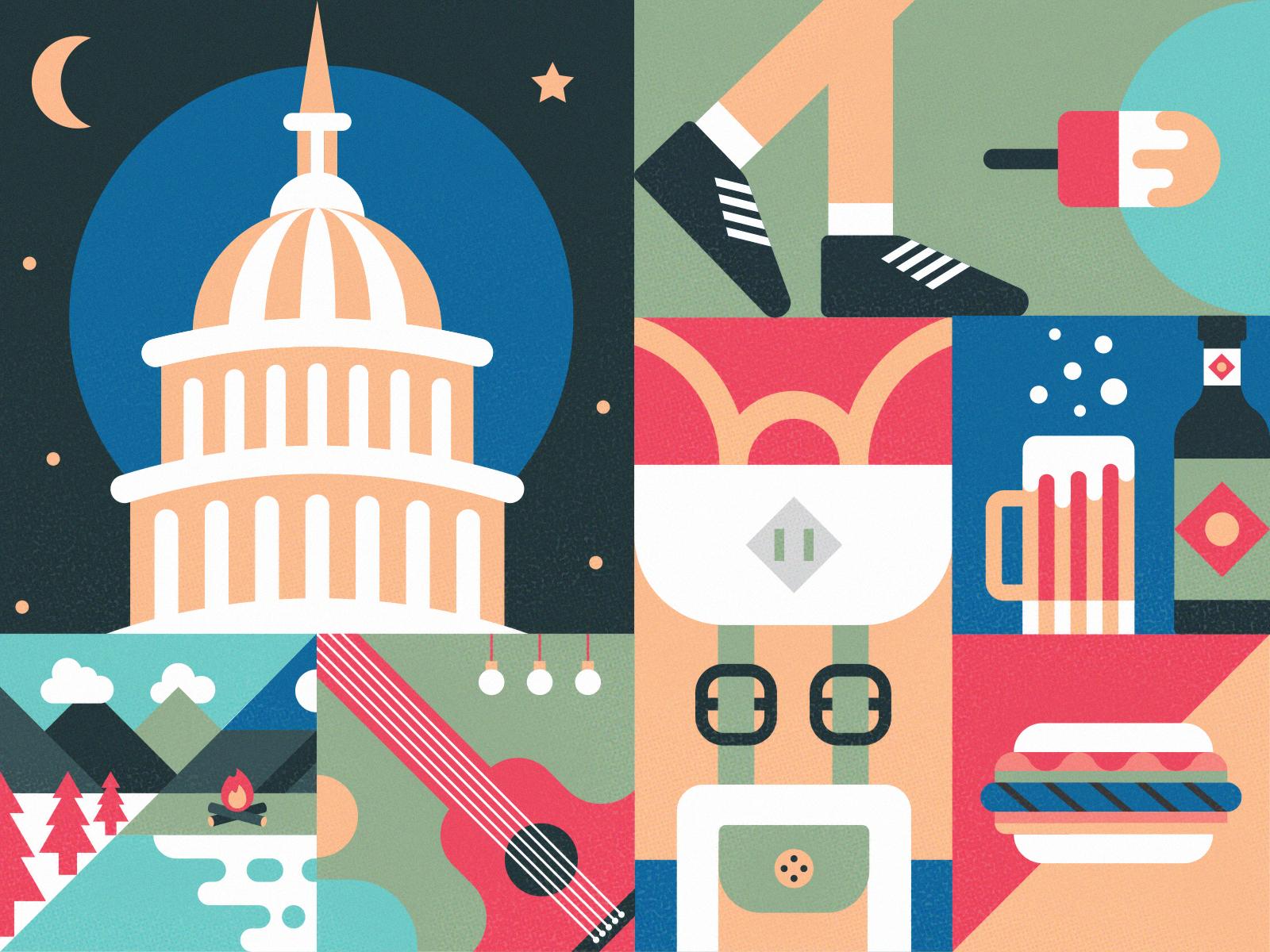 Washington DC colorful illustration drink food music camping party summer internship washington dc