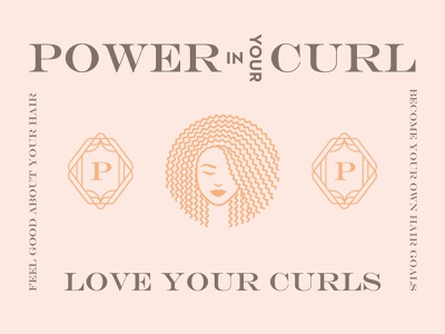 Power In Your Curl educator trainer coach mark brand identity feminine type serif art deco p monogram natural hair hair care logo