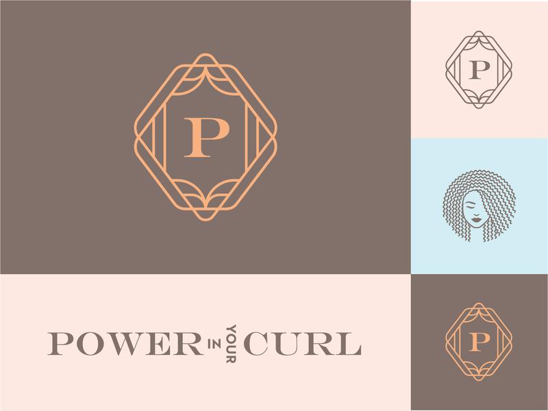 Power In your Curl art deco curly educator feminine haircare logotype wordmarks hair regimen natural hair p monogram serif beauty trainer coach wordmark
