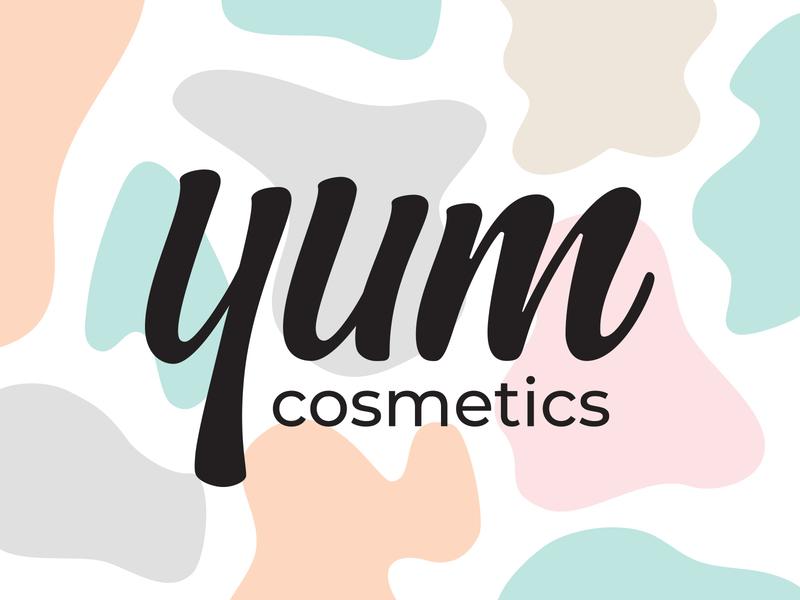 Yum Cosmetics body care skincareherbal skincare branding natural brand pattern packaging lettering logo pastel colors brand identity holistic beauty product organic vegan cosmetics
