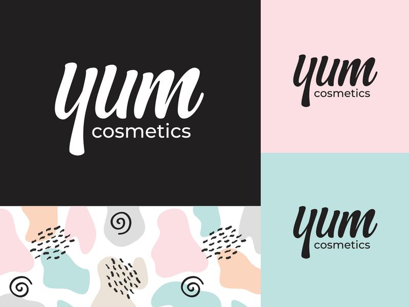 Yum Cosmetics beauty product body care brand identity branding holistic lettering logo natural organic packaging pastel colors pattern skincareherbal skincare vegan cosmetics