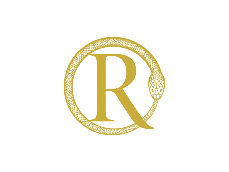 Regina Oswald fashion designer apparel letter mark gold snake pattern monogram ro logo high-end luxury fashion ouroboros snake logo