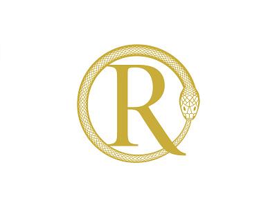 Regina Oswald fashion designer apparel letter mark gold snake pattern monogram ro logo high-end luxury fashion ouroboros snake logo