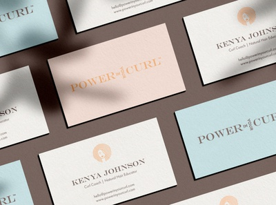 Business cards shadows woman logo hair logo wordmark logo wordmark pastel colors business cards