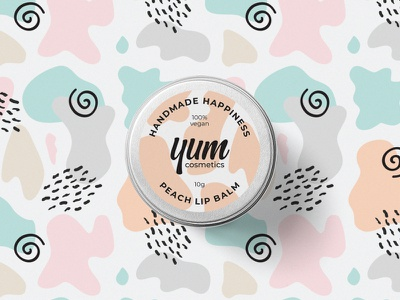 Lip Balm Packaging Design wordmark lettering logo logo pastel colors pattern skincare lip balm cosmetics packaging