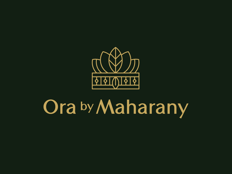 Ora by Maharany botanical logo cosmetics beauty holistic natural organic luxury elegant crown logo haircare skincare