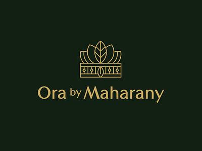 Ora by Maharany botanical logo cosmetics beauty holistic natural organic luxury elegant crown logo haircare skincare