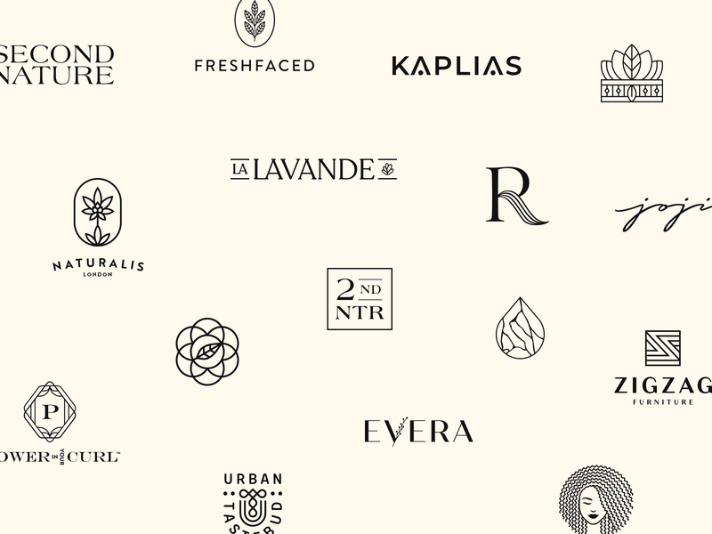 2019 Logos logofolio monogram badge emblem skincare cosmetics beauty logo haircare branding sustainable natural organic wordmark icon elegant logo collections logos