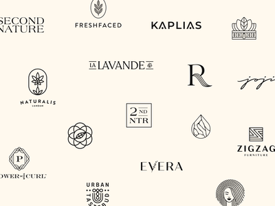 2019 Logos logofolio monogram badge emblem skincare cosmetics beauty logo haircare branding sustainable natural organic wordmark icon elegant logo collections logos