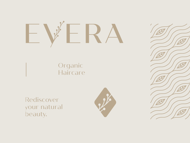 EVERA Haircare vegan holistic logotypes elegant luxury botanical pattern beauty skincare organic cosmetics wordmark brand pattern logotype logo haircare natural