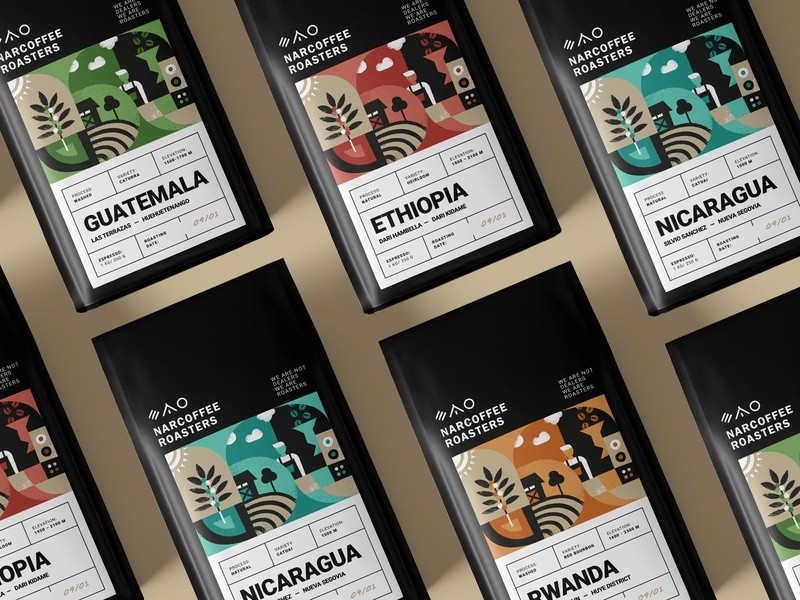 Narcoffee Packaging Reimagined labeldesign drink coffee tree espresso coffee beans road specialty coffee natural crop native barista farm plant roasters illustration packaging bag coffee bag