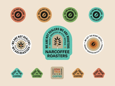 Narcoffee Stickers icons packaging design label design drink food and drink food bag barista roasters coffee tree beans packaging natural coffee typedesign badge logo badge sticker stickers