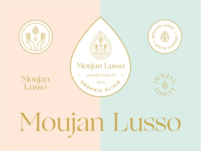 Moujan Lusso Skincare vegan luxury type beauty cosmetics label packaging holistic logotype badge emblem organic logo hands droplet design label body oil natural organic skincare