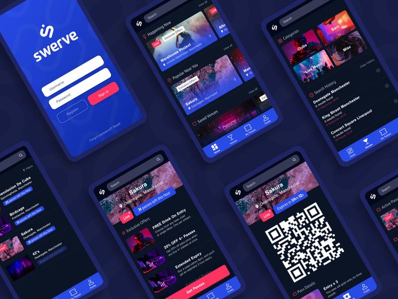 Swerve App Screens ui ux screens mobile application fast track ticket app social network bar nightclub ticketing blue user experience user interface uiux ui design app design