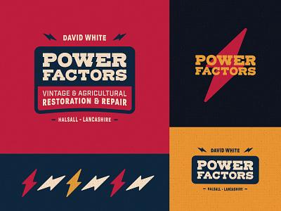 Power Factors Branding farming car red navy blue mustard emblem crest thunder lightning bolt retro vintage factors power logomark logotype identity branding logo brand